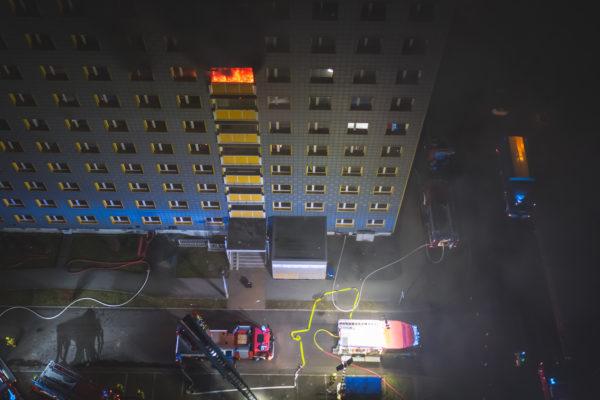 Hochhausbrand Realbrandausbildung Feuerwehr Gera
